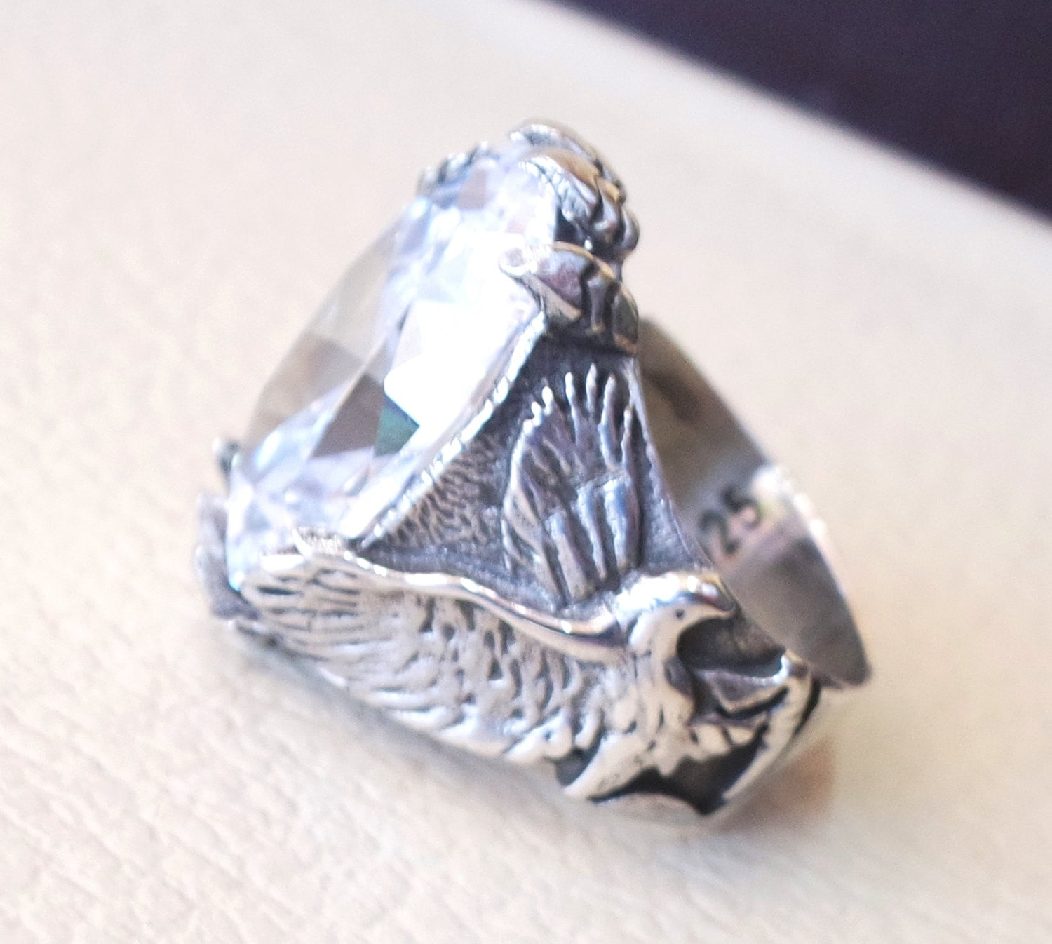diamond synthetic stone high quality white color cubic zircon huge men ring eagle sterling silver 925 any size animal jewelry fast shipping