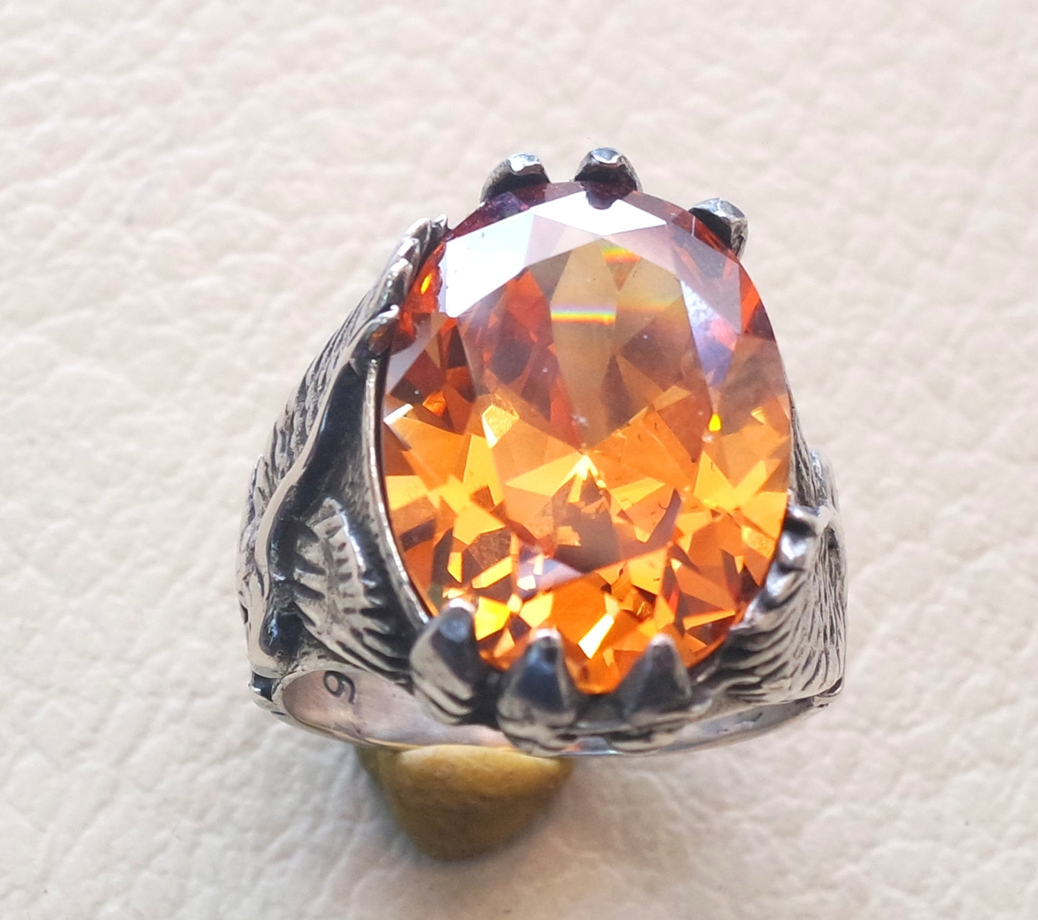 deep vivid fancy orange cubic zirconia oval stone highest quality stone sterling silver eagle 925 men ring  all sizes jewelry fast shipping