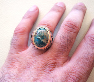 men ring sea sediment jasper multi color green blue brown stone all sizes natural semi precious sterling silver 925 bronze frame jewelry