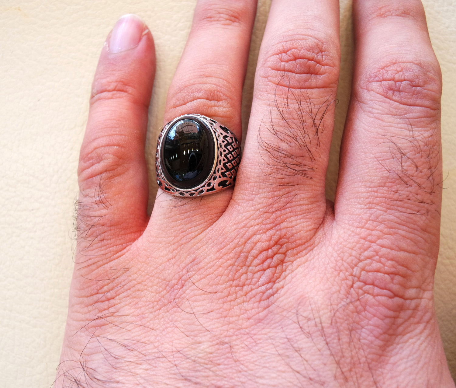 aqeeq natural agate onyx huge big stone oval black cabochon gem man ring sterling silver arabic middle eastern turkey style fast shipping