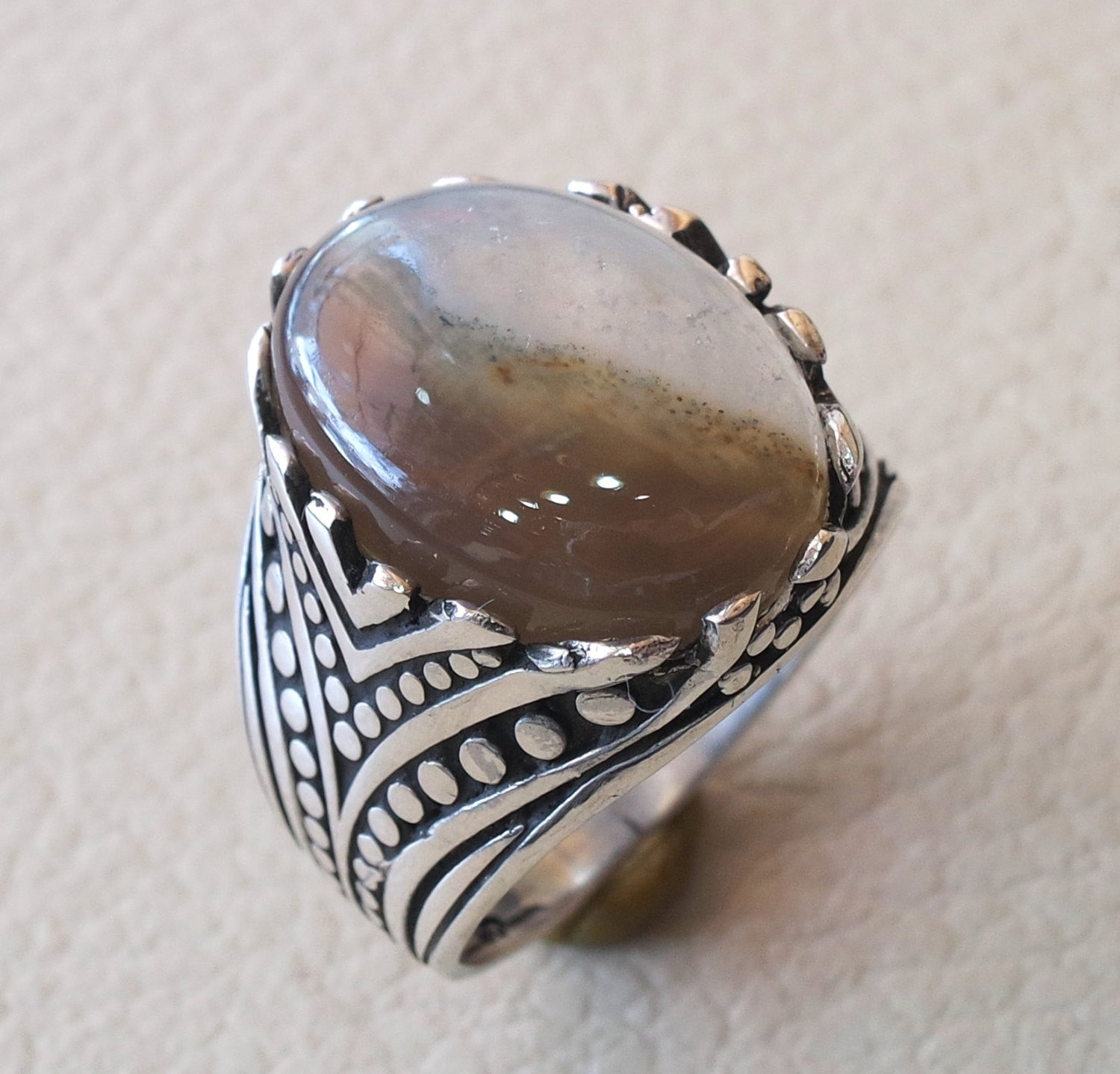 Botswana agate natural semi precious two color highest quality aqeeq stone men ring sterling silver 925 all sizes jewelry fast shipping