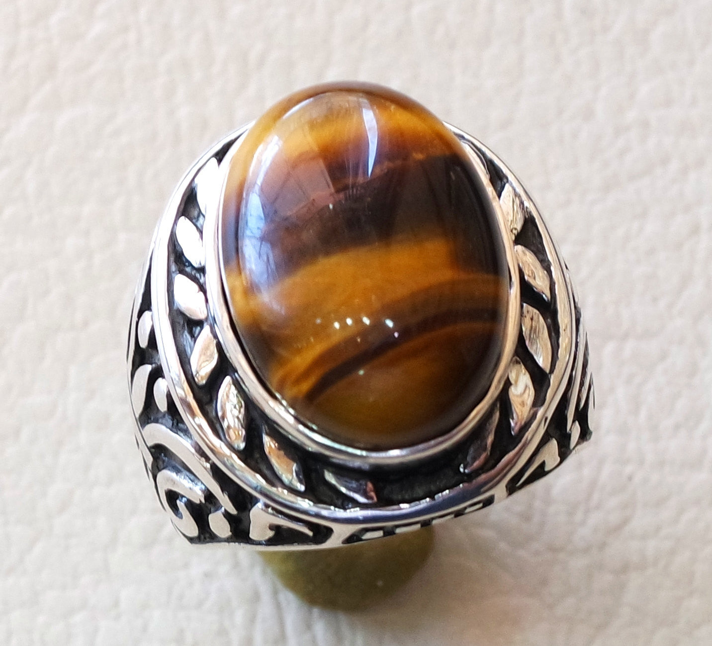 big men ring tiger eye cat eye natural cabochon semi precious oval stone ottoman antique  arabic style two tone sterling silver 925