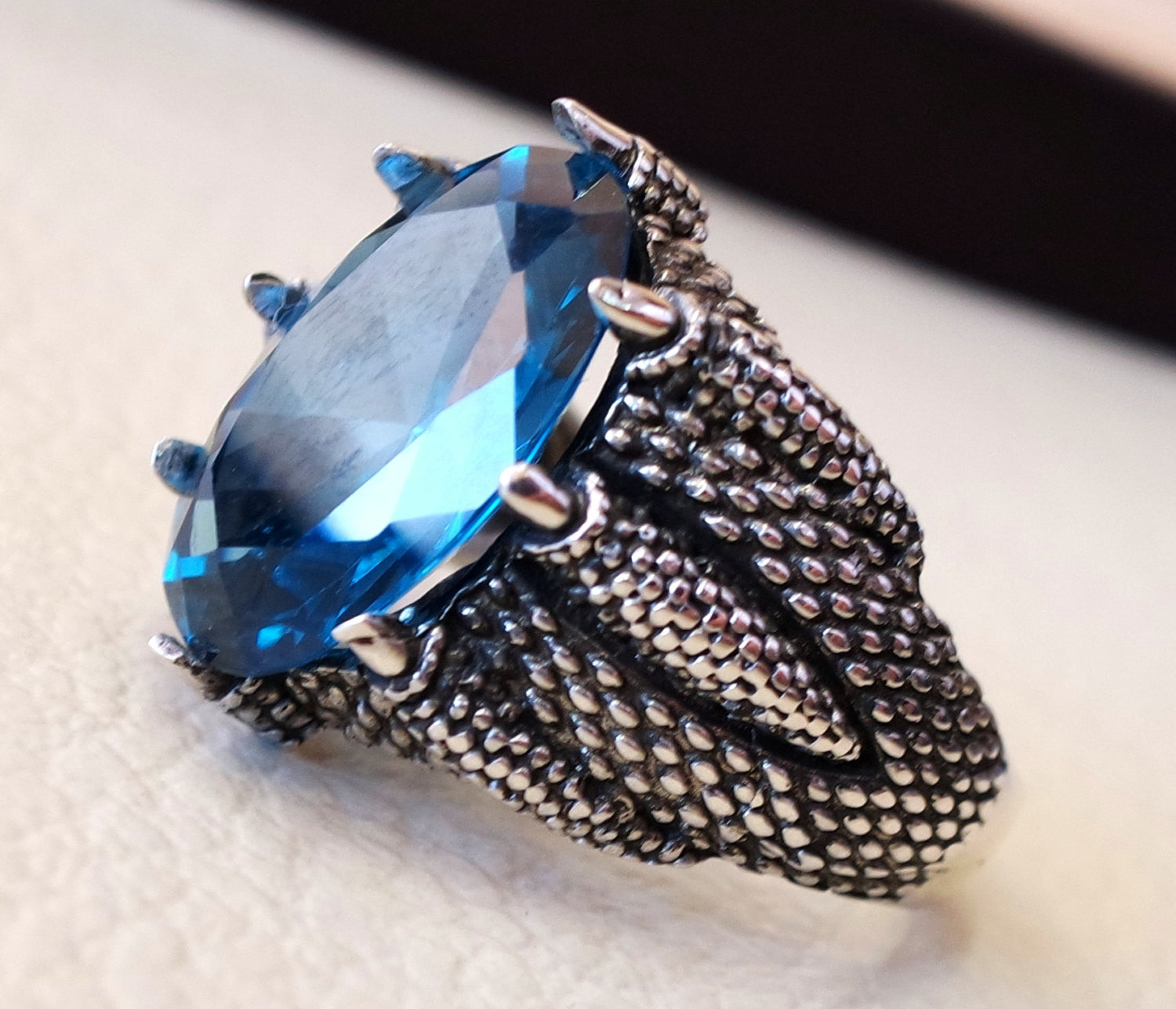 blue cubic zircon huge men dragon snake ring sterling silver 925 sky sea color unique stone all sizes jewelry fast shipping oxidized style