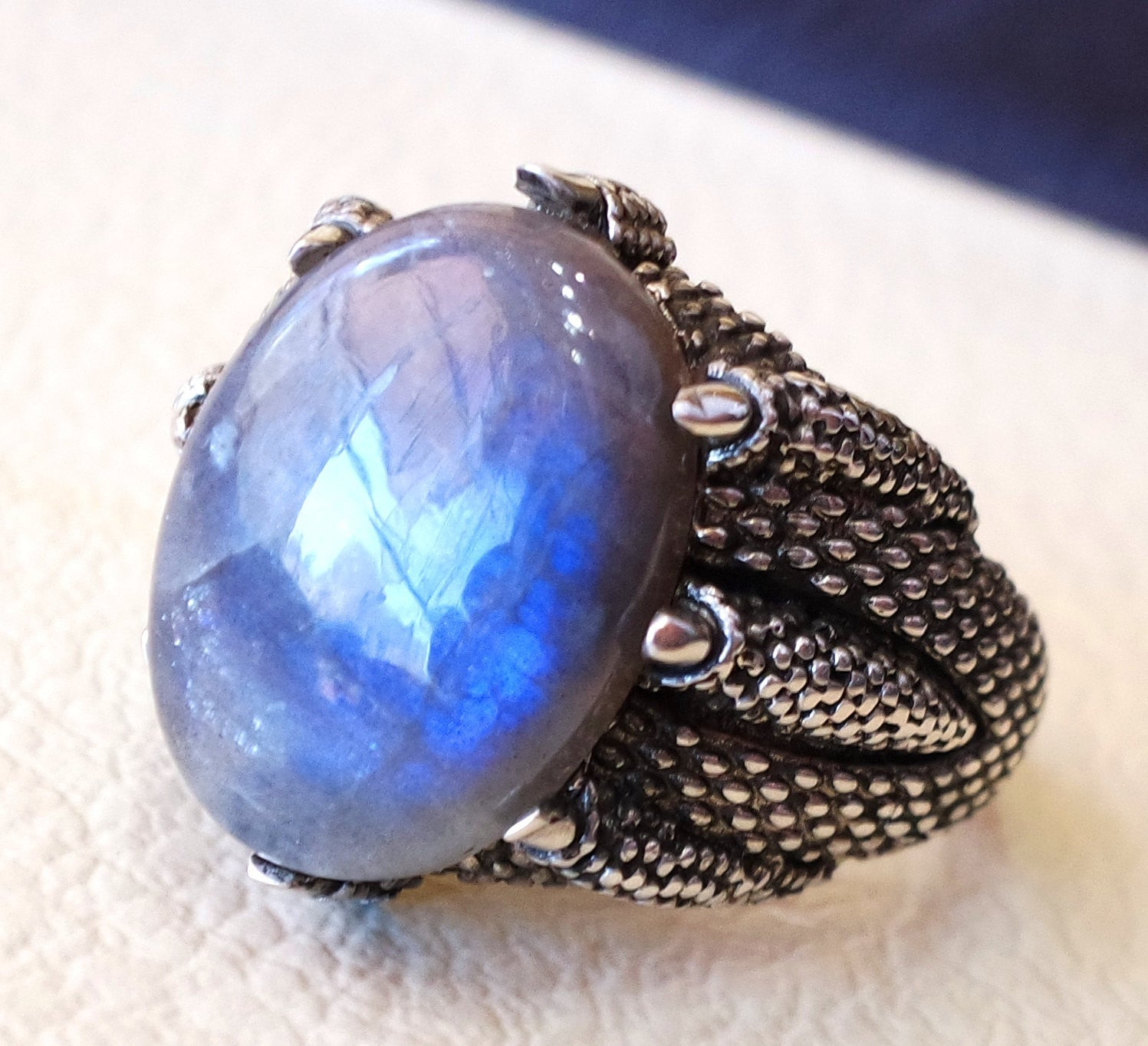flashy blue labradorite huge men eagle clay ring sterling silver 925 color unique stone all sizes jewelry fast shipping oxidized style
