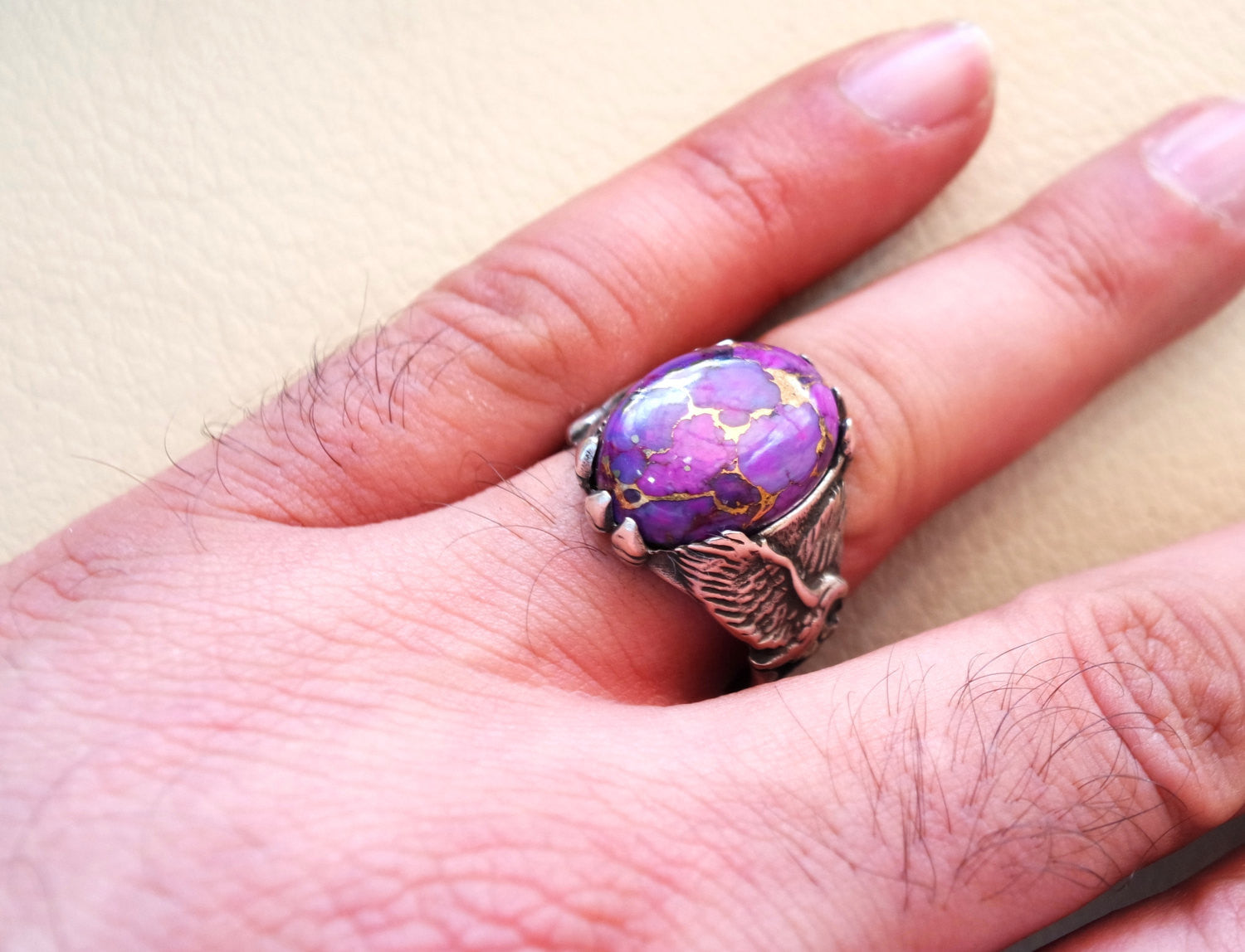 men ring natural semi precious purple mohave copper turquoise eagle design all sizes high quality cabochon man jewelry fast shipping
