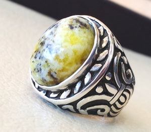 yellow dendritic howlite stone natural gem sterling silver 925 ring oval semi precious cabochon man huge ring ottoman jewelry fast shipping