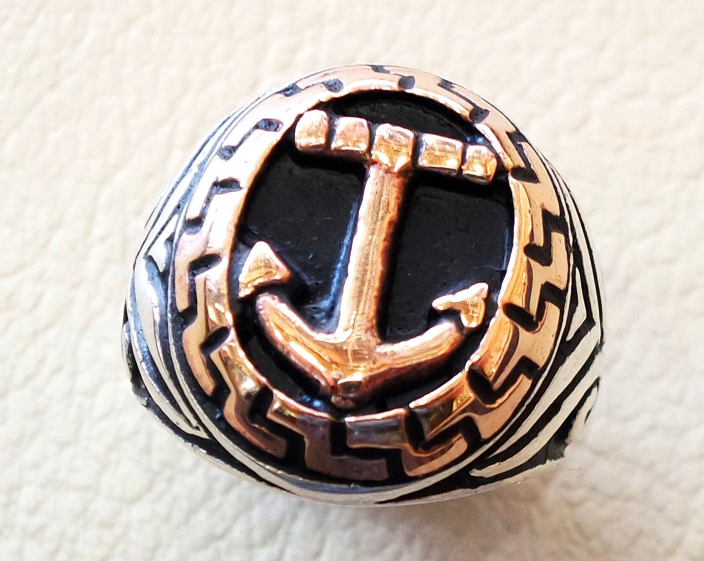 vintage style anchor sailor biker men ring heavy sterling silver 925 sea symbol and bronze handmade all sizes jewelry fast shipping