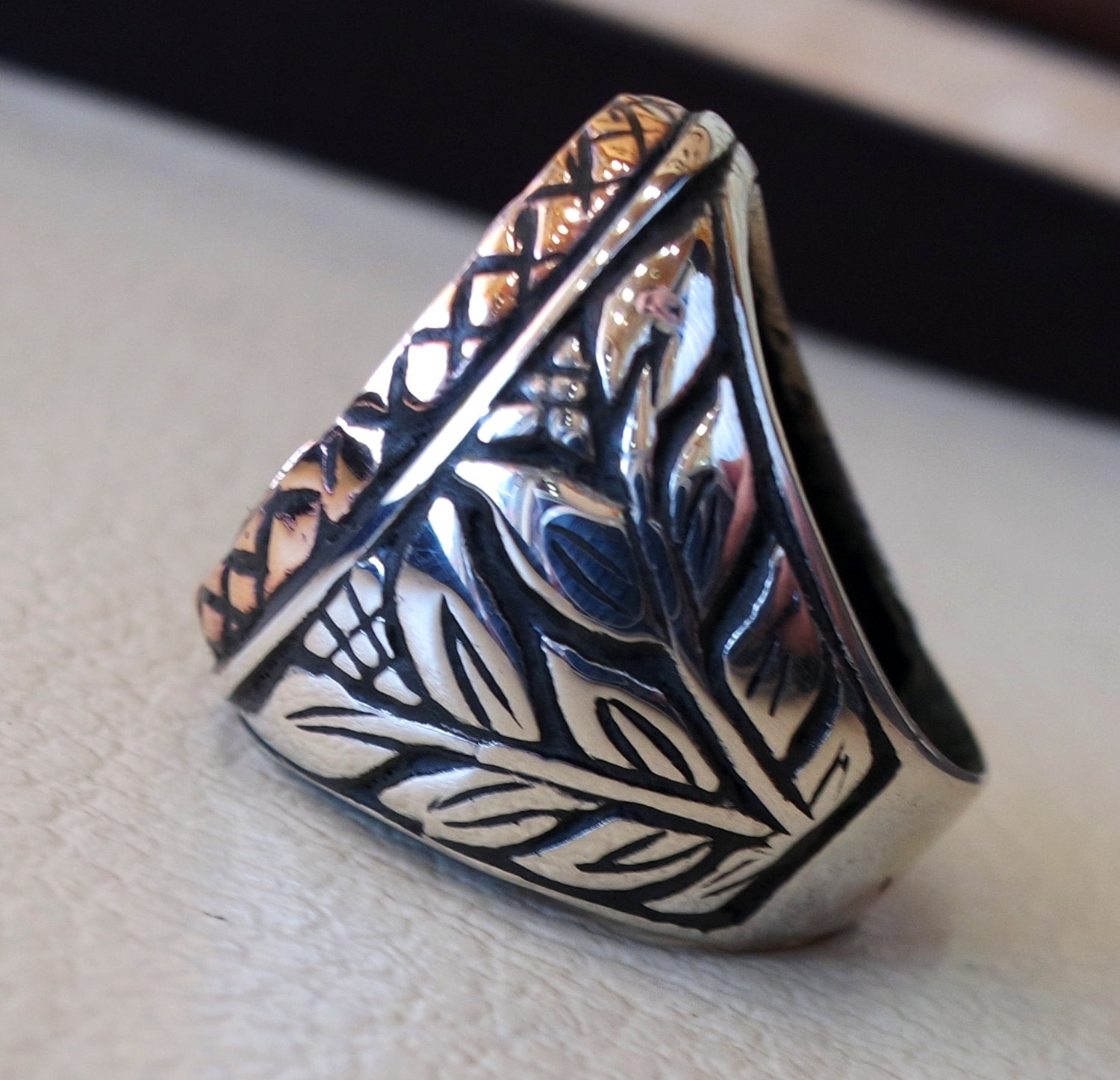 Big anchor sailor biker men ring heavy sterling silver 925 sea symbol flowers and bronze handmade all sizes jewelry fast shipping