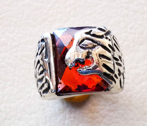red ruby color cabochon octagon stone lion man ring sterling silver 925 all sizes high quality jewelry ottoman middle eastern antique style