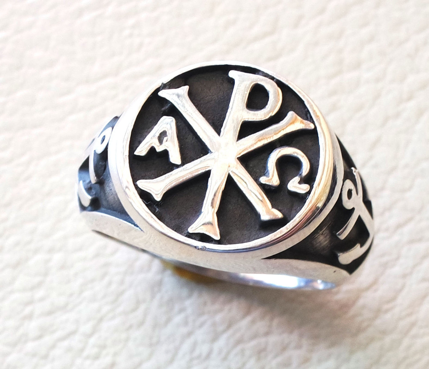 Chi Rho anchor on the sides cross christ christian symbol sterling silver 925 heavy man ring jewelry fast shipping round  shape all sizes