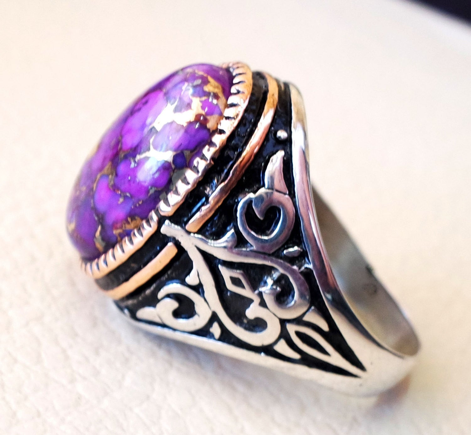 ottoman style heavy ring men sterling silver 925 jewelry copper purple turquoise high quality semi precious natural stone in bronze frame