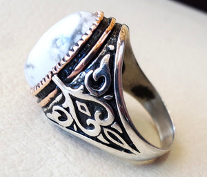 white turquoise natural semi precious agate stone sterling silver 925 men ring antique ottoman  style heavy jewelry bronze frame all sizes