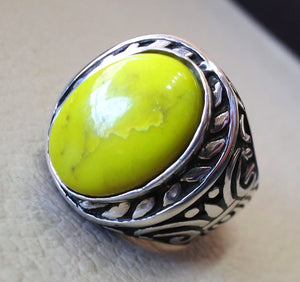 mohave yellow turquoise natural stone semi precious oval gem sterling silver 925 men ring jewelry  arabic style fast shipping all sizes