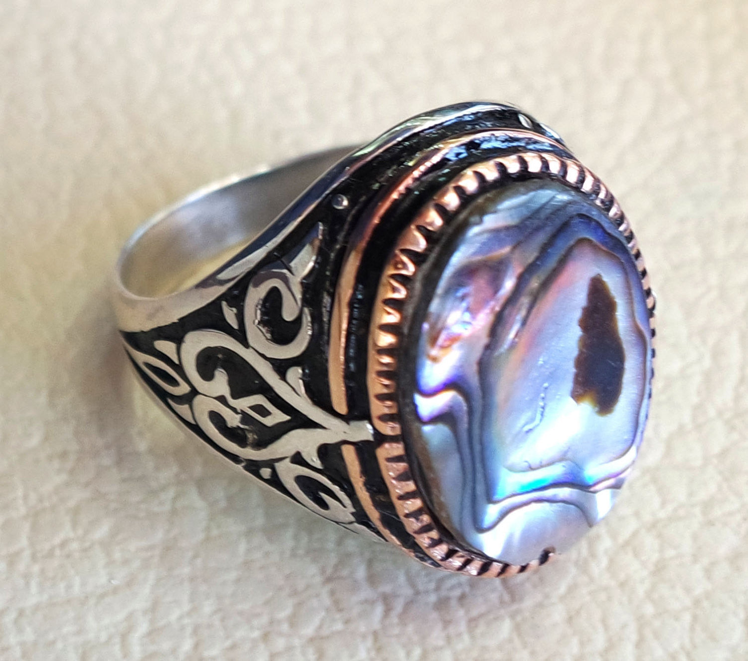 abalone shell colorful heavy ring sterling silver ottoman style all sizes jewelry men unique gift all sizes fast shipping bronze frame