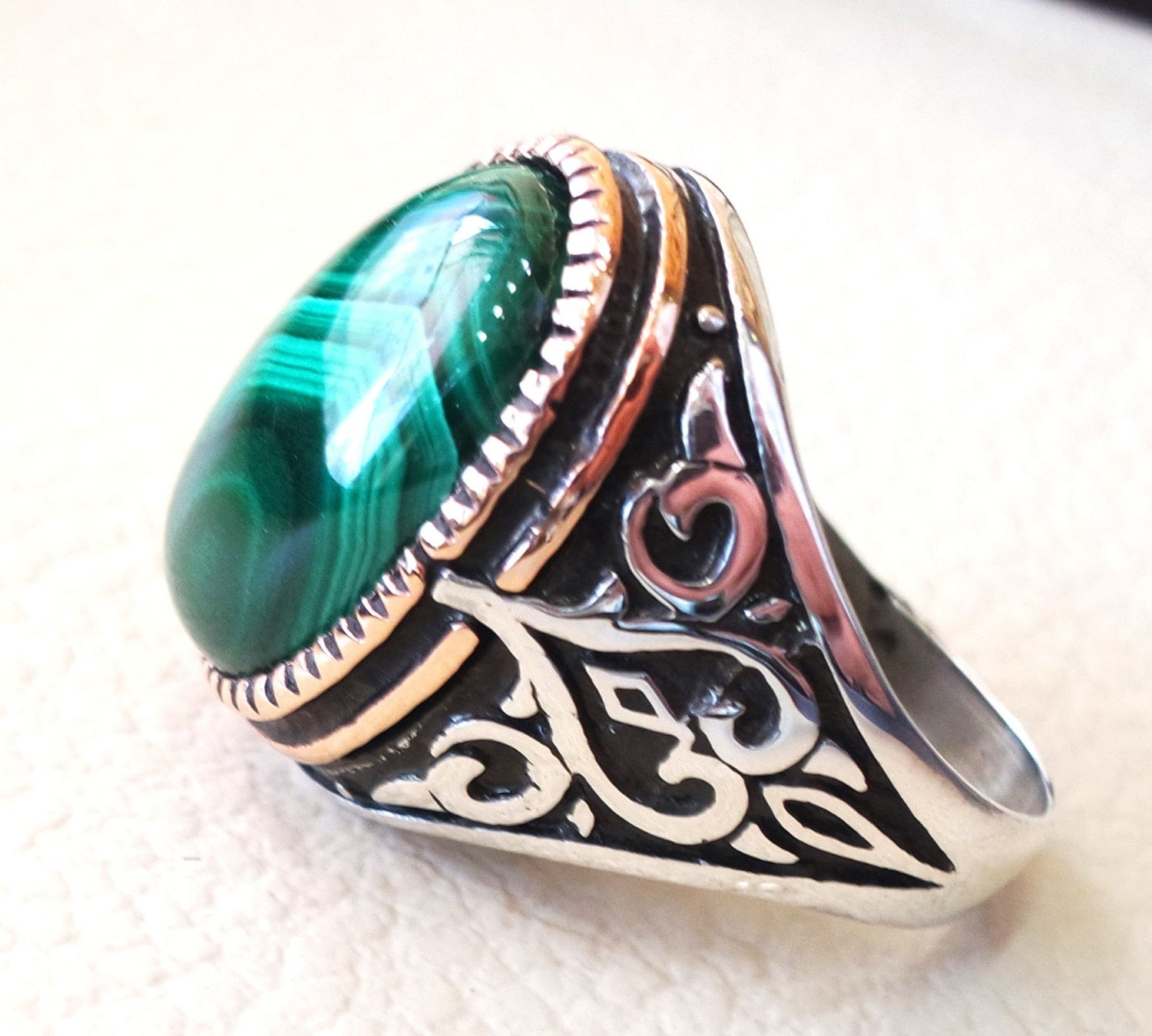 natural malachite ring high quality green cabochon semi precious stone sterling silver 925 and bronze ottoman arab style heavy men jewelry