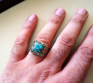 square natural copper turquoise high quality blue stone heavy sterling silver 925 man ring bronze frame any size ottoman style jewelry