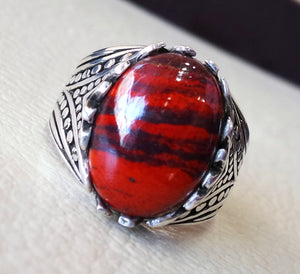 snake skin jasper stone natural gem sterling silver 925 ring red and black oval semi precious cabochon man ring turkey jewelry fast shipping