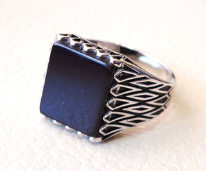 men's ring black natural rectangular flat onyx black agate aqeeq sterling silver 925 all size middle eastern oriental style fast shipping