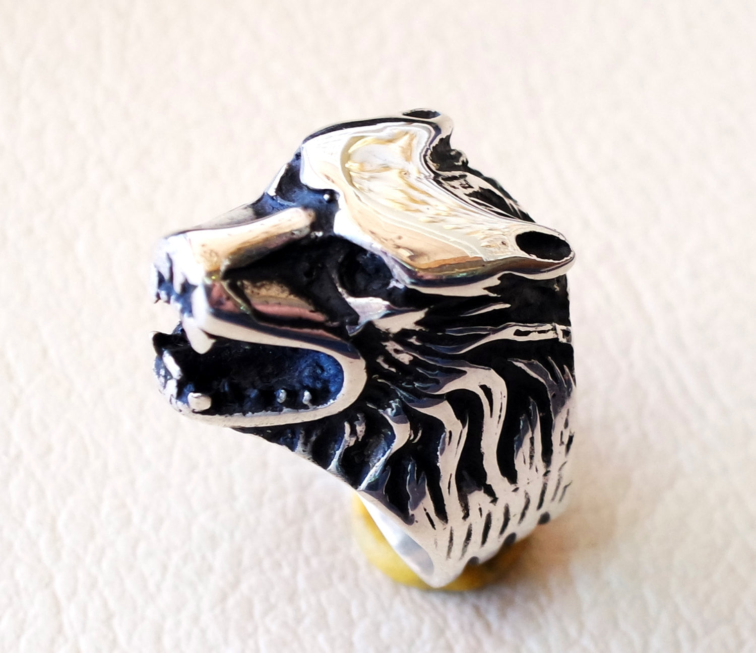 wolf ring heavy sterling silver 925 man biker ring all sizes handmade animal head jewelry fast shipping detailed craftsmanship