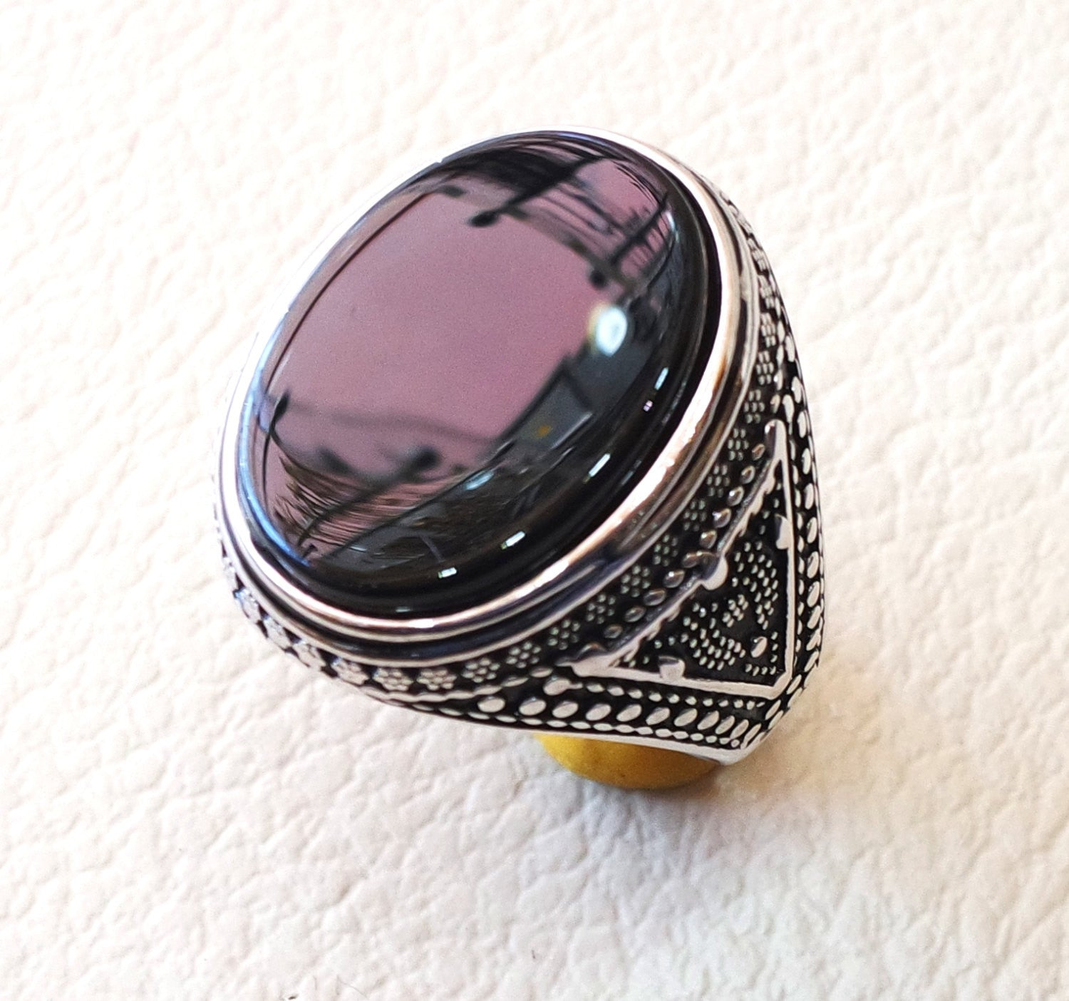 aqeeq natural agate onyx huge big stone oval black flat gem man ring sterling silver arabic middle eastern turkey style fast shipping