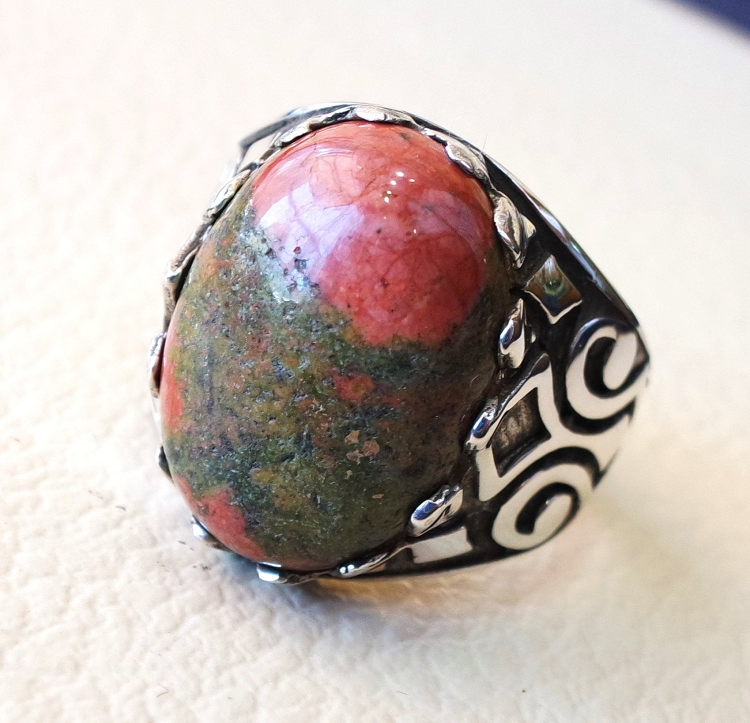 unakite natural multi color stone oval cabochon sterling silver 925 men ring high quality orange green red semi precious jewelry ottoman