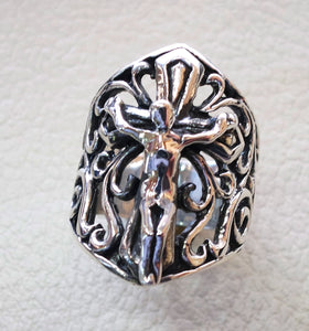 cross jesus christ christian sterling silver 925 heavy huge man ring jewelry fast shipping biker style all sizes