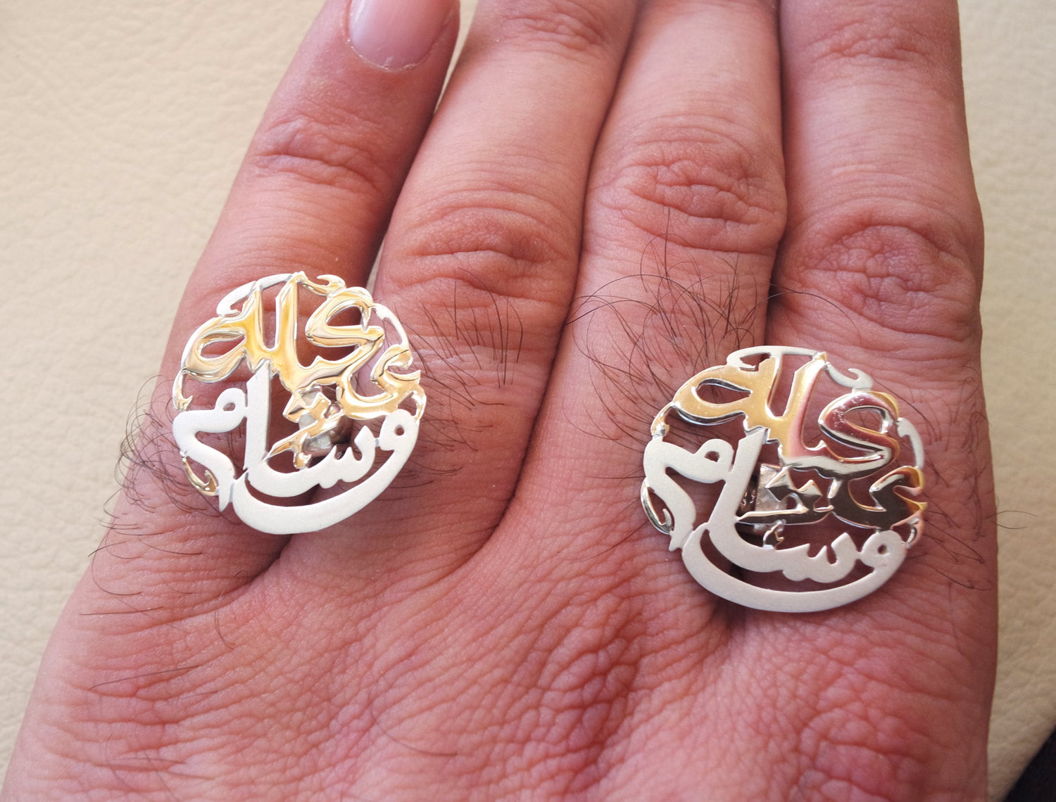cufflinks , cuflinks name of two words each calligraphy arabic customized any name made to order sterling silver 925 heavy men jewelry