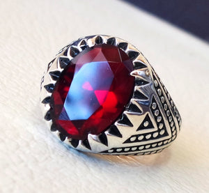 ruby identical synthetic stone high quality imitation corundum red color men ring sterling silver 925 any size ottoman middle east jewelry