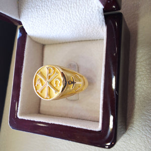 Chi Rho anchor cross christ christian symbol 18 k gold heavy man ring made to order fine jewelry full insured shipping and wood box