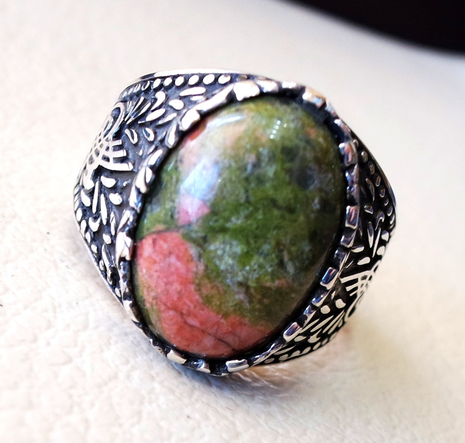 unakite natural multi color stone oval cabochon sterling silver 925 men ring high quality orange green pink semi precious jewelry ottoman