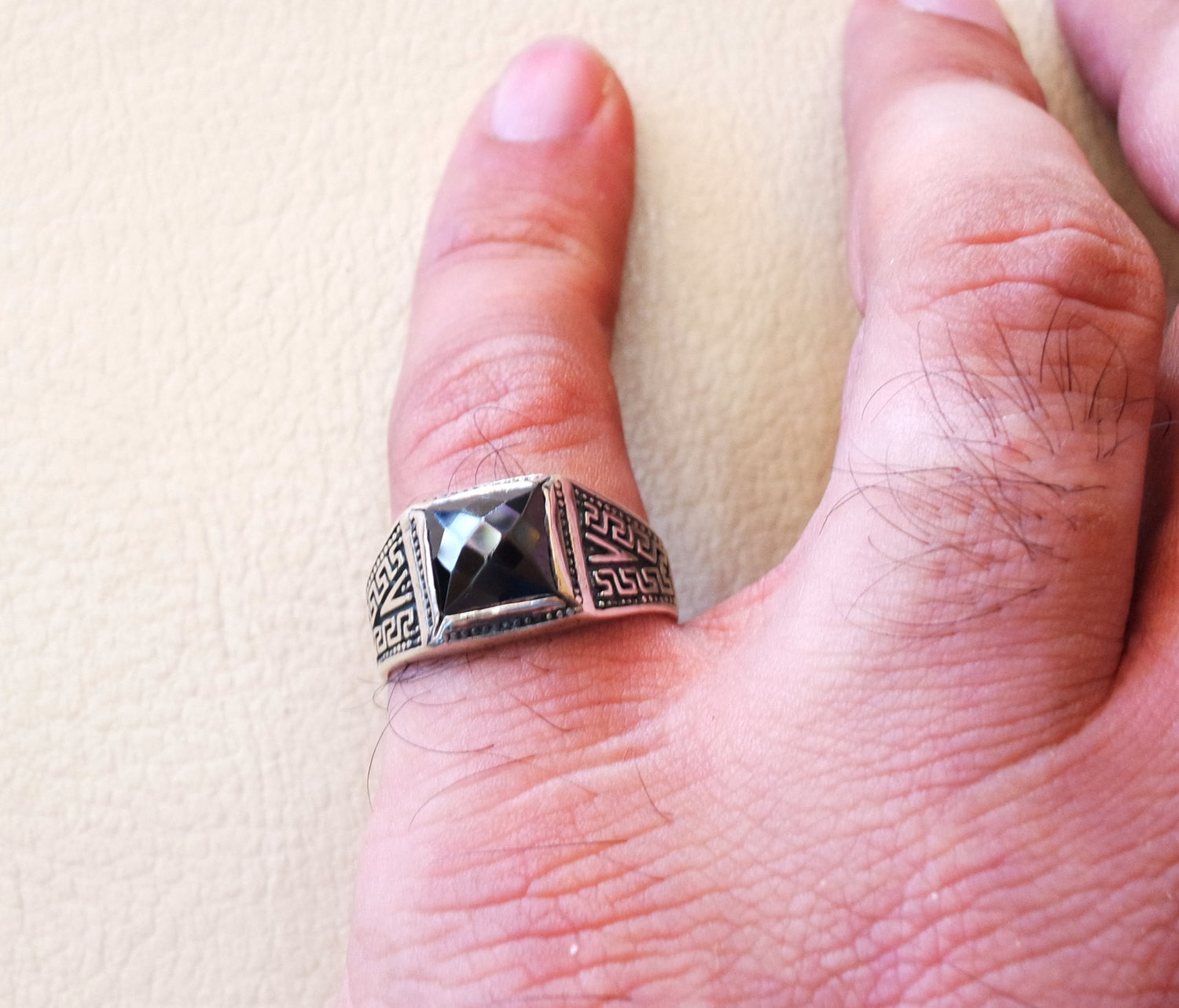 square small pinkie black onyx stone sterling silver 925 small man ...