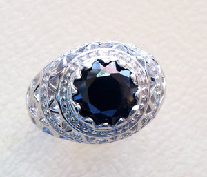 man ring sterling silver 925 round black cubic zircon Cz stone identical to genuine diamond fast shipping all sizes jewelry ottoman sultan