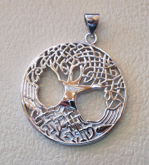 Tree of life sterling silver big round pendant 925 k high quality  jewelry free shipping Chakra Kabbalah symbol of  wisdom handmade