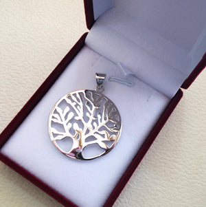Tree of life sterling silver big round pendant 925 k high quality  jewelry Chakra Kabbalah symbol of  wisdom handmade fast shipping