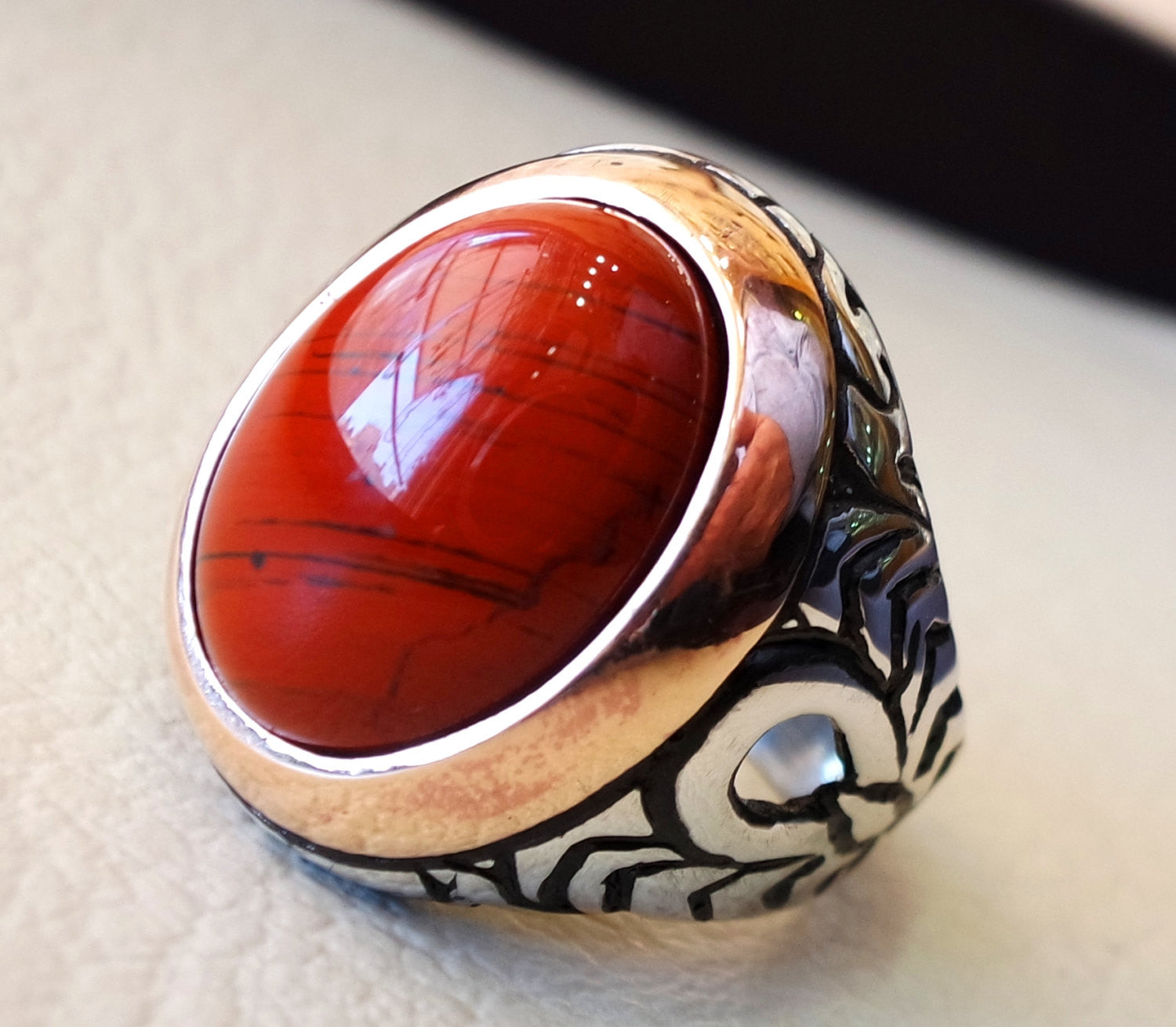pure red jasper man ring stone natural aqeeq gem sterling silver 925 ring  oval semi precious cabochon  jewelry with bronze frame