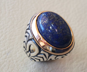 lapis lazuli men ring  oval cabochon natural blue stone  bronze and sterling silver 925  jewelry all sizes 18 * 13 mm ottoman middle eastern