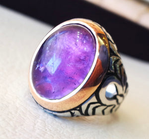 amethyst agate men ring natural purple stone silver 925  vintage arabic turkish ottoman bronze frame man jewelry oval cabochon all sizes
