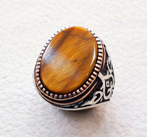 men ring tiger eye cat eye natural flat semi precious oval stone ottoman antique turkey arabic style two tone sterling silver 925