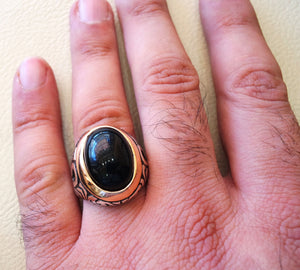 obsidian black aqeeq men ring natural stone sterling silver 925 vintage arabic turkish style all sizes on bronze fast shipping