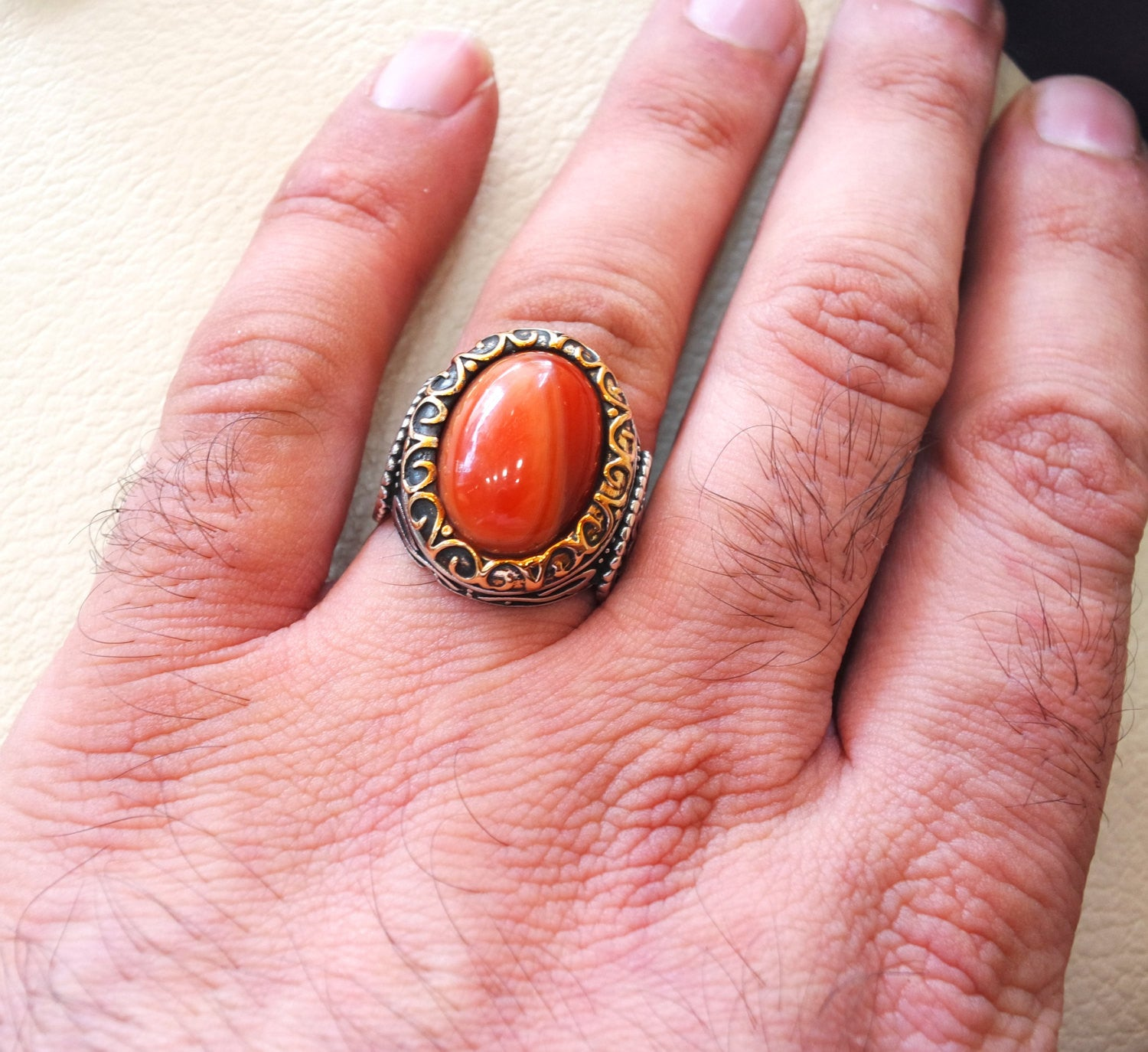 striped agate aqeeq ring sterling silver 925 ring any size antique middle eastern style carnelian semi precious natural cabochon عقيق