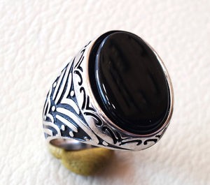 flat aqeeq natural agate onyx huge big stone oval black gem man ring sterling silver arabic middle eastern turkey style fast shipping
