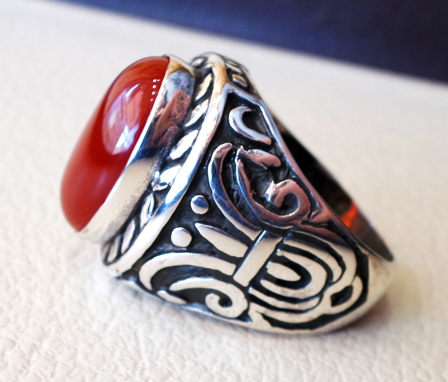 huge liver agate carnelian yemeni aqeeq ring sterling silver 925 dark red semi precious natural gemstone men jewelry any size middle eastern