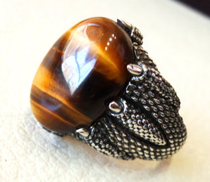 dragon snake mouth sterling silver 925 tiger cat eye stone oval  all sizes jewelry heavy men ring ottoman middle eastern style