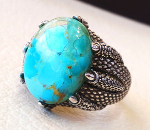 Natural Arizona turquoise highest quality huge men eagle clay ring sterling silver 925  blue color stone all sizes jewelry fast shipping