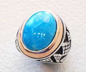 smithsonite natural sky blue stone ring sterling silver 925 men jewelry all sizes semi precious gem highest quality middle eastern style