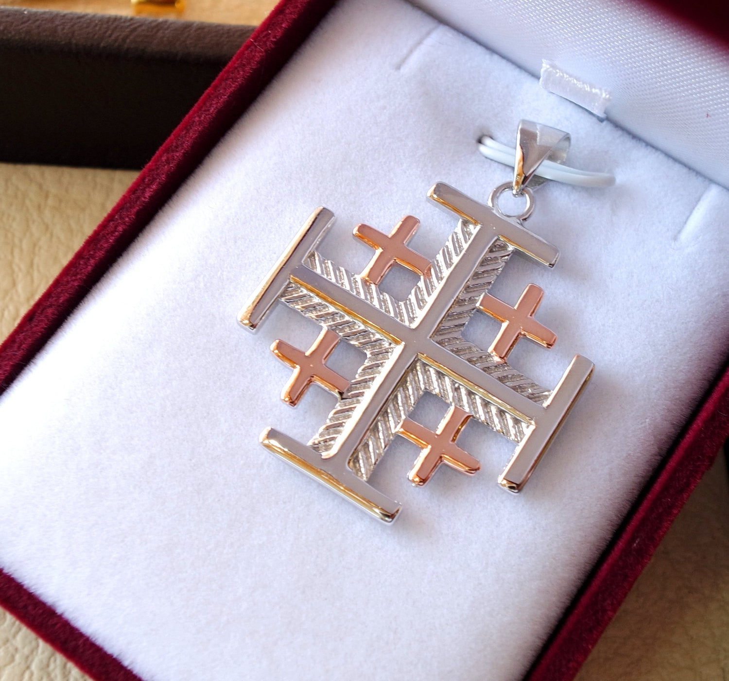 Jerusalem cross pendant two tone sterling silver 925 middle eastern jewelry christianity vintage handmade heavy fast shipping
