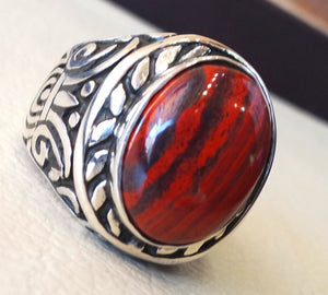 snake skin jasper stone natural gem sterling silver 925 ring red and black oval semi precious cabochon man huge ring jewelry fast shipping