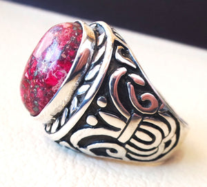 red sea sediment jasper stone natural gem sterling silver 925 ring oval semi precious cabochon man huge ring ottoman jewelry fast shipping