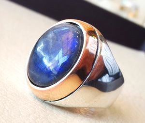 flashy dark blue labradorite natural stone men sterling silver 925 ring oval cabochon semi precious gem bronze frame style all sizes jewelry