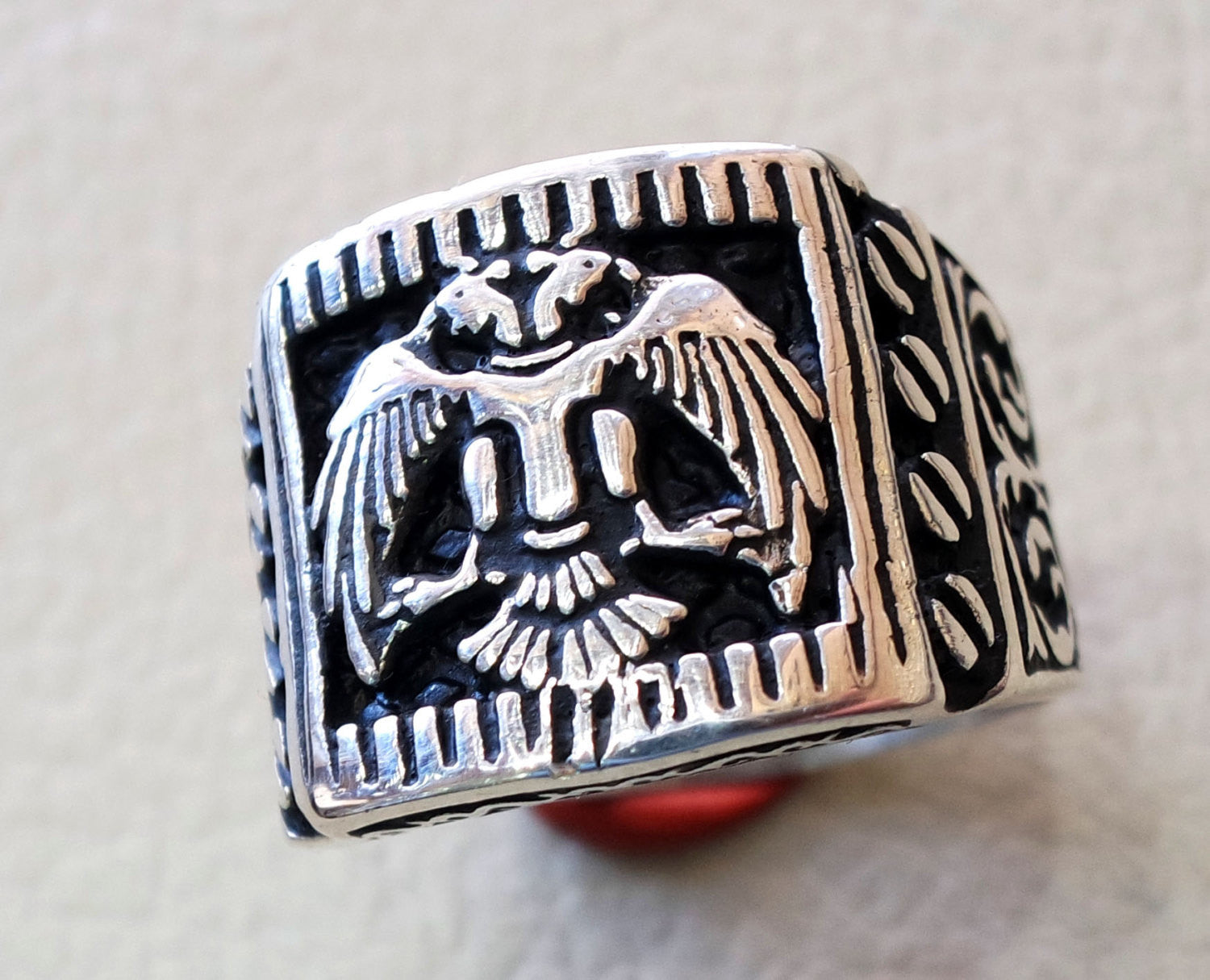 Two headed eagle heavy men ring byzantine roman historical and modern symbol all sizes sterling silver 925 express shipping jewelry